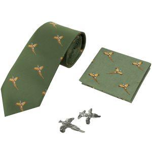 Подарочный Набор: Галстук Носовой Платок и Запонки Jack Pyke Pheasant - Зеленый