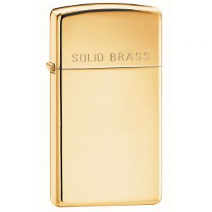 Зажигалка Zippo Slim High Polish Brass Engraved - High Polish Brass